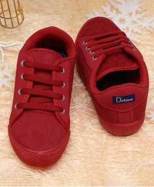 D'chica Bro Solid Lace Up Shoes - Red