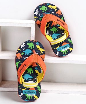 Cute Walk by Babyhug Flip Flops with Back Strap Dino Print - Navy Blue