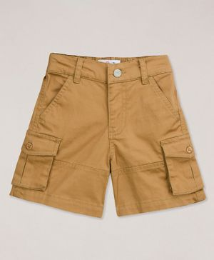Young Birds Solid Cargo Shorts - Beige