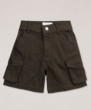 Young Birds Solid Cargo Shorts - Brown