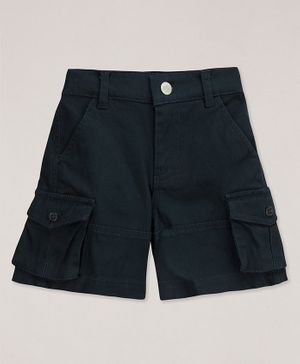 Young Birds Solid Cargo Shorts - Navy Blue