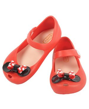 Yellow Bee Bow Design Mary Jane Jelly Shoes - Red