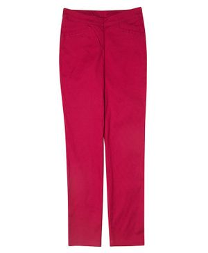 One Friday Full Length Solid Trousers - Dark Pink
