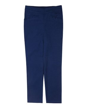 One Friday Full Length Solid Trousers - Navy Blue