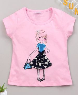 Smarty Short Sleeves Tee Doll Print - Pink