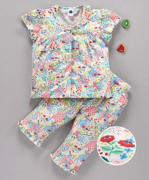 Teddy Short Sleeves Night Suit Floral Print - Red Blue