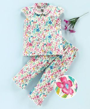 Teddy Cap Sleeves Night Suit Floral Print - White Pink