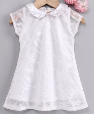 Yellow Duck Pearl Detailing Short Sleeves Lacey Dress - White