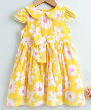 Yellow Duck Cap Sleeves Flower Printed Dress - Yellow