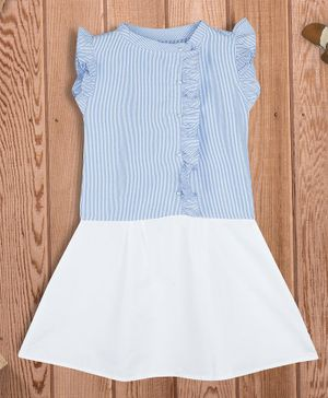 oui oui Striped Short Sleeves Pearl Button Dress - White