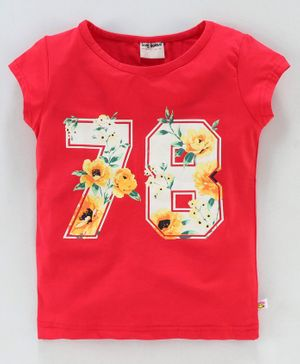 Lazy Bones Short Sleeves Tee 78 Number Print - Red