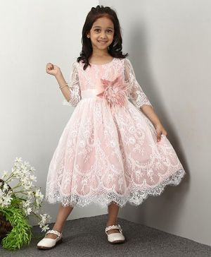 Mark & Mia Three Fourth Sleeves Party Wear Frock - Pink