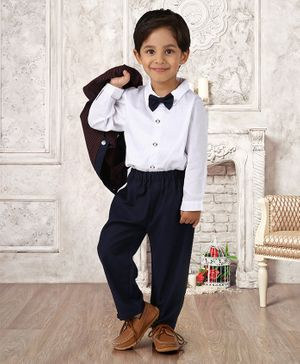 Mark & Mia Full Sleeves 3 Piece Party Suit with Bow - Navy Blue White