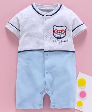 Baby Go Half Sleeves Romper Teddy Embroidery - Sky Blue