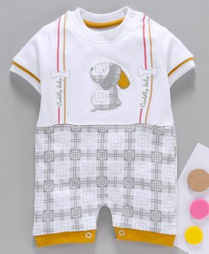 Baby Go Half Sleeves Romper Puppy Embroidery - White Yellow