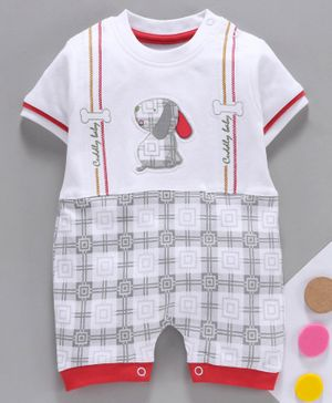 Baby Go Half Sleeves Romper Puppy Embroidery - White Red