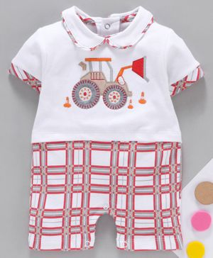 Baby Go Half Sleeves Romper JCB Embroidery - Red White
