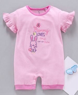 Baby Go Half Sleeves Romper Bunny Embroidery - Pink