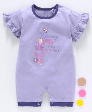 Baby Go Half Sleeves Romper Bunny Embroidery - Purple