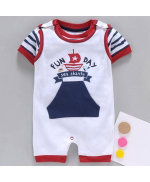 Baby Go Dungaree Style Romper With Half Sleeves Striped Inner Tee Fun Day Embroidery - Red White