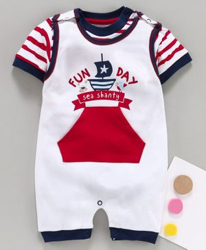 Baby Go Dungaree Style Romper With Half Sleeves Striped Inner Tee Fun Day Embroidery - Navy Blue White
