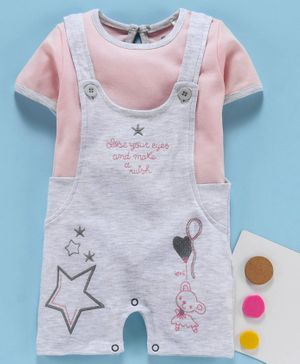 Baby Go Dungaree Style Romper with Half Sleeves Inner Tee Star Embroidery - Grey