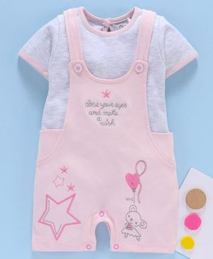 Baby Go Dungaree Style Romper with Half Sleeves Inner Tee Star Embroidery - Peach