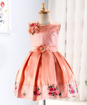 Enfance Flower Embroidery Detailing Sleeveless Box Pleated Dress - Peach