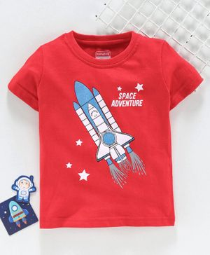 Babyhug Half Sleeves Tee Space Adventure Print - Red