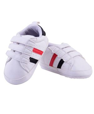 Little Hip Boutique Double Strap Tape Sneakers Style Booties - White