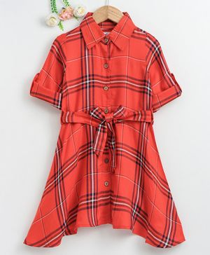 Soul Fairy Checked Shirt Style Full Sleeves Dress With Belt - Orange