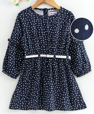 Soul Fairy Polka Dot Print Full Sleeves Dress With Belt - Navy Blue