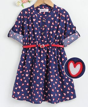 Soul Fairy Heart Printed Full Sleeves Dress With Belt - Navy Blue