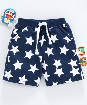 Babyhug Mid Thigh Length Shorts with Drawstring Star Print - Blue