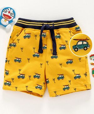 Babyhug Mid Thigh Shorts with Drawstring Car Print - Yellow