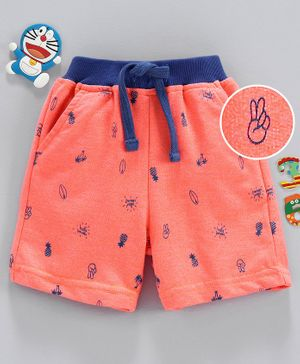 Babyhug Mid Thigh Length Shorts with Drawstring Pineapple Print - Orange