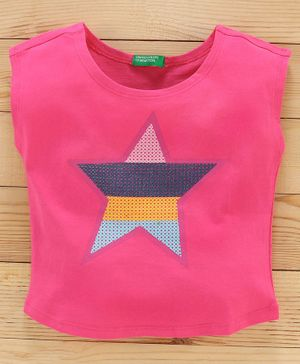 UCB Short Sleeves Top Star Sequin Embellishment - Pink