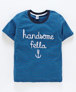 Teddy 100% Cotton Half Sleeves Striped T Shirt Text Embroidery - Royal Blue