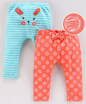 Babyoye Full Length Cotton Diaper Leggings Polka Dot Print Pack of 2 - Blue Peach