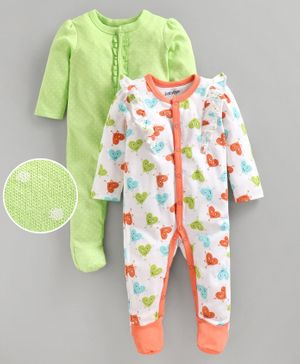 Babyoye Full Sleeves Cotton Sleepsuit Ditsy Polka Dots Pack of 2 - Lime Green