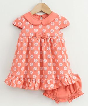 Babyoye Cotton Cap Sleeves Frock with Bloomer Polka Dot Print - Coral