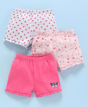 Babyoye Cotton Shorts Striped & Printed Pack of 3 - Pink Grey