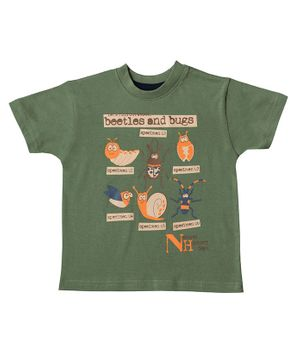 Kid Studio Bugs & Beetles Print Half Sleeves T-Shirt - Green