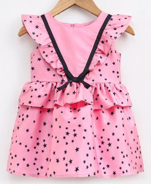 Babyoye Flutter Sleeves Party Wear Frock Star Print - Pink