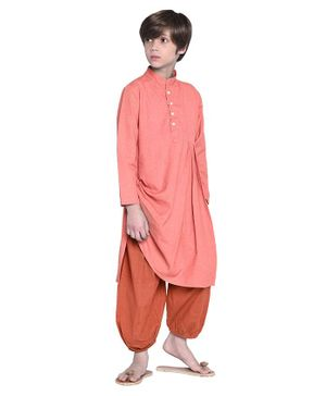 Wondermom Solid Full Sleeves Kurta With Pyjama - Peach & Red