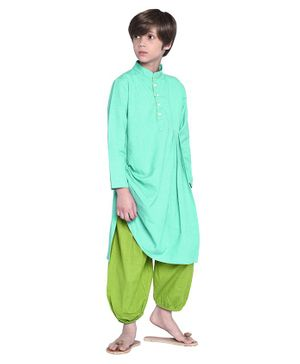 Wondermom Solid Full Sleeves Kurta With Pyjama - Green & Light Green
