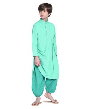 Wondermom Solid Full Sleeves Kurta With Pyjama - Green & Dark Green