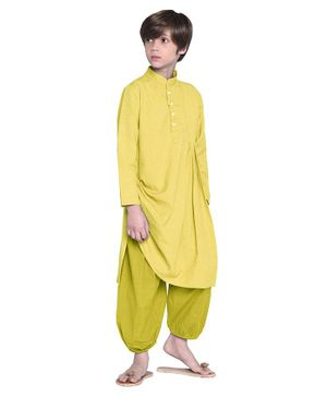 Wondermom Solid Full Sleeves Kurta With Pyjama - Yellow & Green
