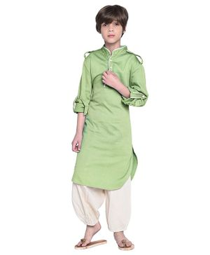 Wondermom Solid Full Sleeves Kurta With Pyjama - Green