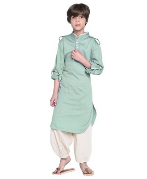 Wondermom Solid Full Sleeves Kurta With Pyjama - Blue